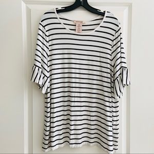 Philosophy Black White Striped Ruffle Sleeve Top